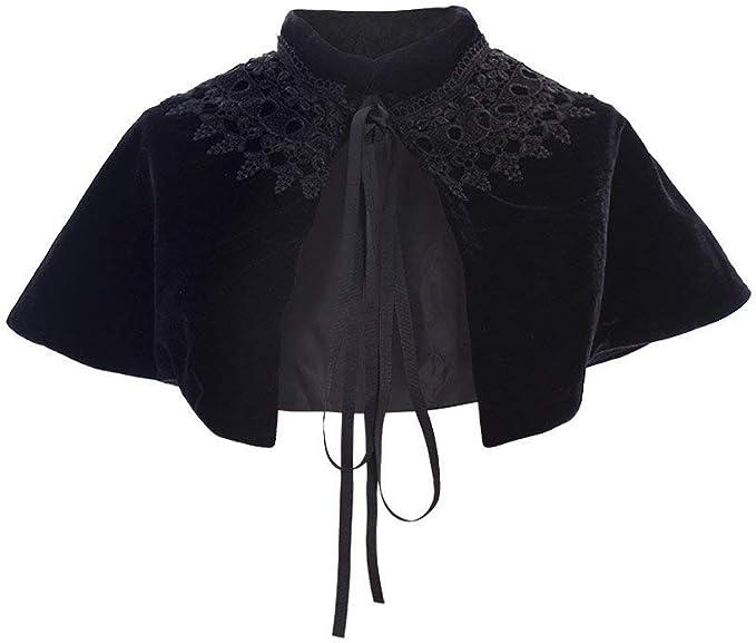 Steampunk Costume Essentials for Women COUCOU Age Velvet Cape Short Lace Shawl Lolita Cloak for Women Girls Dress  AT vintagedancer.com
