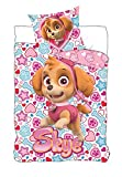 BrandMac ApS Juego de ropa de cama infantil de la Patrulla Canina, 135 x 200 cm, 80 x 80 cm, algodón, diseño de Sky Skye