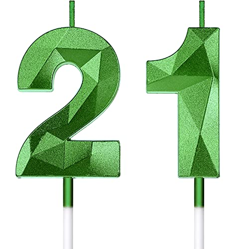 21st Birthday Candles Cake Numeral Candles Happy Birthday Cake Candles Topper 3D Design Number Candles Cupcake Decoration for Birthday Wedding Anniversary Celebration Favor, Green