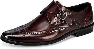 Chaussures Monk hommes,Robe boucle Chaussures Urban marche travail Banquet d'affaires Chaussures en cuir,Brown- 38/UK 5.5/...