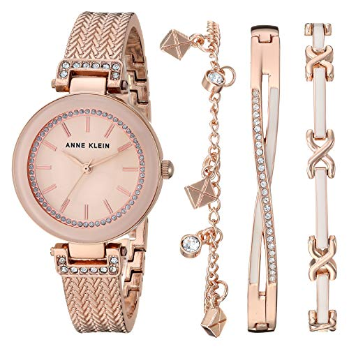 Anne Klein Women's Textured Bangle Watch and Bracelet Set -$53.99(69% Off)