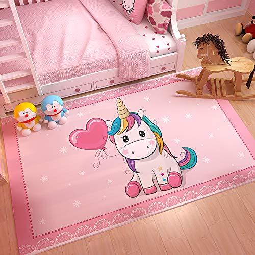 GOOCO Moderno E Morbido Tappeto per Bambini, Tappeto per Bambini Stanza dei Bambini Femminucce Moderno Unicorno su Nuvole, con Animali Colorati