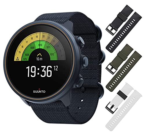 SUUNTO 9 Baro Multisport GPS Smartwatch, Water Resistant, Alti/Baro Profile, Granite Blue/Titanium with Wearable4U 3X Wristband Strap (Black+Khaki+White/Black) Bundle