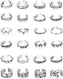Finrezio 24PCS Vintage Toe Ring Set para Mujeres Niñas Anillo de Nudillo Ajustable Anillo de Dedo Retro Antiguo