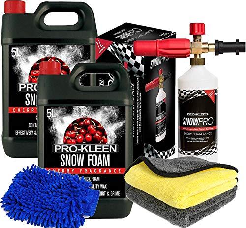 Pro-Kleen 10L Cherry Snow Foam Shampoo + Snow Foam Lance Gun Kit + Lance For Use With Karcher K Series K2, K3, K4, K5, K6 and K7 and Microfibre Wash Pad Mitt and Microfibre Cloths