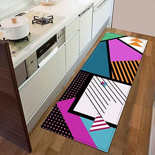 HLXX Küchenmatte Eingang Fußmatte 3D geometrisches Muster Bodendekoration Wohnzimmer Teppich Badezimmer Rutschfester Teppich A3 50x160cm