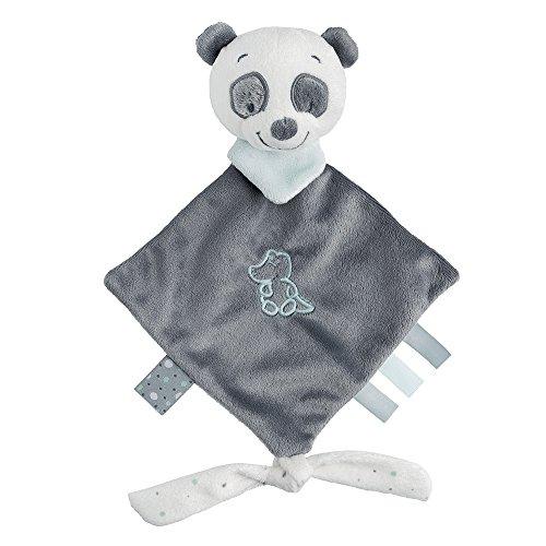 Nattou Mini Doudou Plat Panda Loulou avec Attache pour Sucette, 20 x 38, Loulou, Léa et Hippolyte, Blanc/Gris Foncé