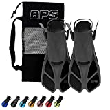 BPS Short Blade Swim Fins - with Adjustable Strap and...
