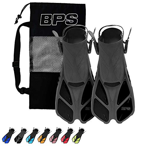 BPS Short Blade Swim Fins - with Adjustable Strap and Open-Toe, Open-Heel Design - for Swimming, Diving, Snorkeling, Scuba Diving - for Kids and Adults - Comes with Carry Bag (Black - XXS/XS)