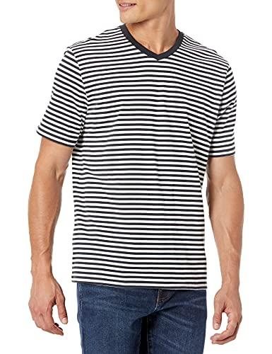 Amazon Essentials - Camiseta holgada a rayas de manga corta con cuello en V para hombre, Negro/Blanco, US M (EU M), Pack de 2