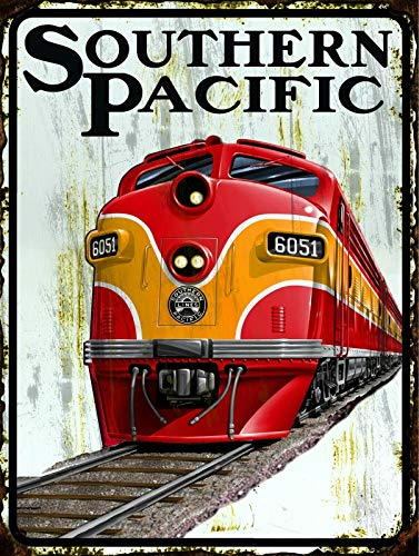 Southern Pacific Railroad Vintage Retro Metal Tin Sign 8x12 Inch Wall Decor Kitchen Garage Restaurant Hotel Decor Gift New Home Decoration