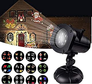 12W Christmas Projector Lights, Jeniulet 2019 Newest Version 12 Patterns Waterproof Decorations Indoor LED White Moving Light Snowflake Lamp for Holiday Party
