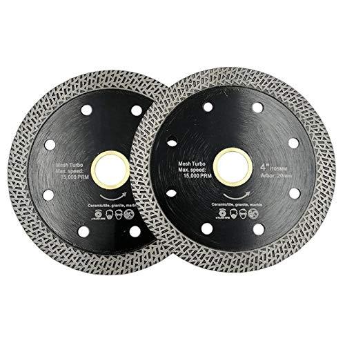WEISHAN - Hoja de sierra de diamante turbo prensada en caliente, material duro, disco de corte de rueda de diamante, 105 mm, 115 mm o 125 mm (color: plata)