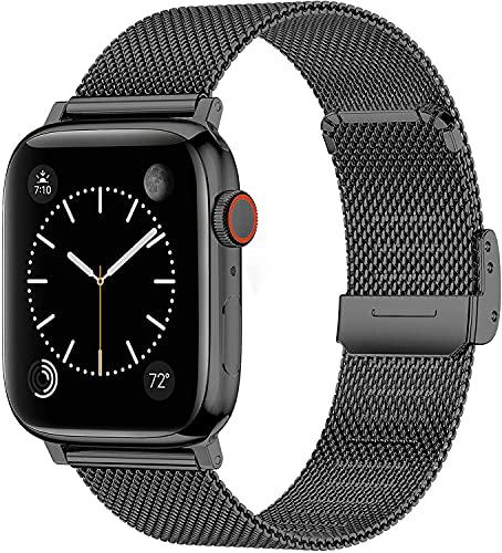 Yolistar Correas para Compatible Apple Watch 44mm 42mm, Pulsera de Repuesto de Acero Inoxidable Correa de Repuesto Compatible con Apple Watch SE Series 6 Series 5 Series 4 Series 3/2/1 - Negro