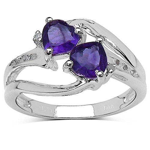La Coleccin Anillo Amatistas: Anillo de compromiso de Amatista con corazn y set Diamantes...