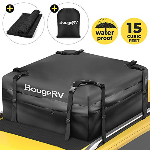 BougeRV Car Roof Bag, 15 Cubic Feet Rooftop Cargo Carrier Bag Waterproof Travel Storage Luggage Bag Box Soft-Shell for Cars with Rack Jeep Car Truck SUV Van (38'x38'x18')