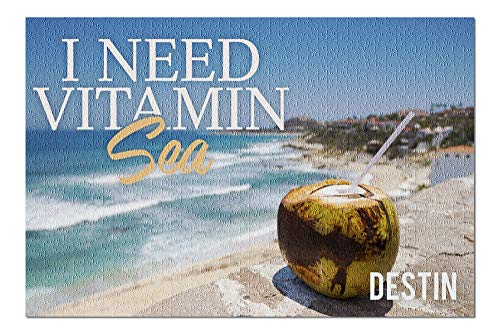 Cheyan Destin, Florida - I Need Vitamin Sea - Coconut Drink on Beach Wooden Puzzles 1000 Pieces Jigsaw Puzzles Educational Game for Adults Kids