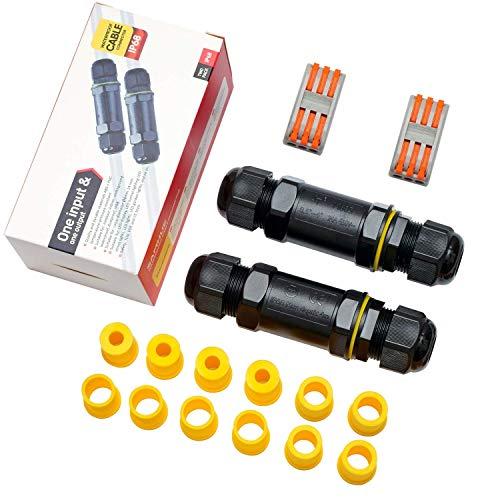Kabelverbinder Wasserdicht IP68 Verbindungsbox Verbindungsmuffe Kabelverbinder mit 3-polig für Ø4-14mm Kabeldurchmesser 2er-Pack schwarz