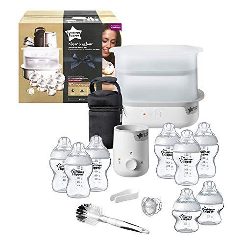 Tommee Tippee Essentials Starter Kit with Steriliser Baby Feeding Bottles, Bottle Cleaning Brush and Warmer
