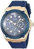 GUESS Legacy Herren-Armbanduhr 45mm Armband Silikon Blau Batterie W1049G2