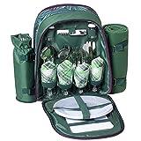 Mochila de Picnic para 4 Personas|Bolsa para refrigerador |Mochila de Picnic Bolsa cesto Bolsa refrigeradora con Juego de vajilla y Manta para Playa,Picnics,Camping(Green)