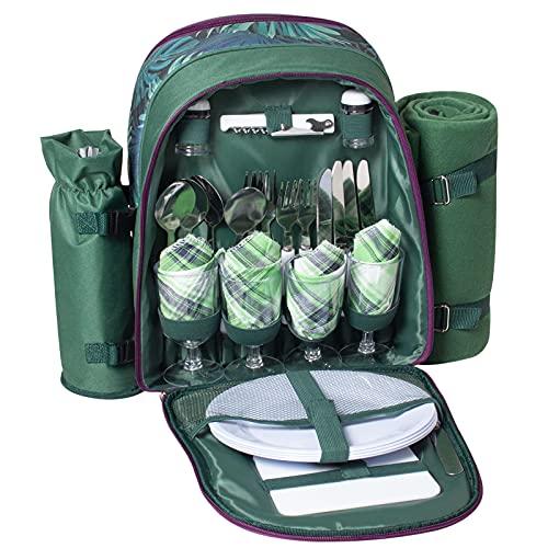 Mochila de Picnic para 4 Personas Bolsa para refrigerador  Mochila de Picnic Bolsa cesto Bolsa refrigeradora con Juego de vajilla y Manta para Playa,Picnics,Camping(Green)