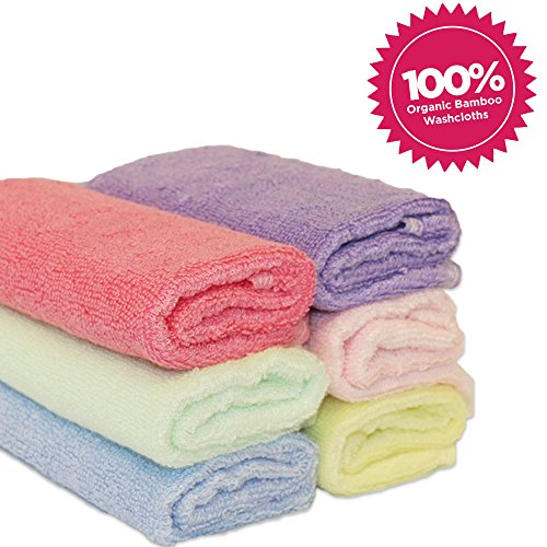 Luv Your Baby 6 Pack of 100% Bamboo Washcloths, Perfect 10