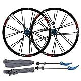 ZNND 26 Pulgadas Bicicleta De Montaña, Pared Doble Llanta De MTB Lanzamiento Rápido V-Brake Ruedas De Ciclismo Híbrido 24 Hoyos Dto 7 8 9 10 Velocidad (Color : B, Size : 26inch)