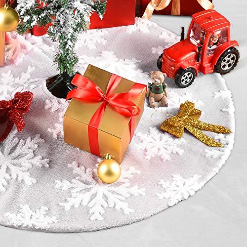 Weihnachtsbaumdecke Weiß Grau ChristbaumdeckeRund Weihnachtsbaum Dekoration Feiertagsdekoration BaumdeckeWeihnachten Tannenbaum Decke Decke für Weihnachtsbaum Christbaum rock Tannenbaum rock 91 cm