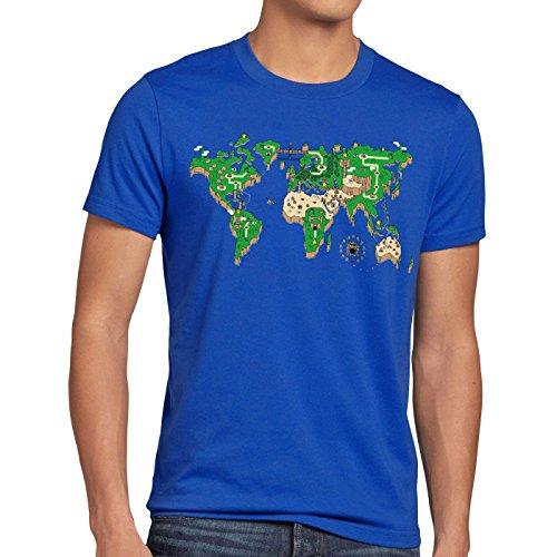 style3 Mario Weltkarte Herren T-Shirt super Videospiel Konsole SNES n64, Größe:4XL