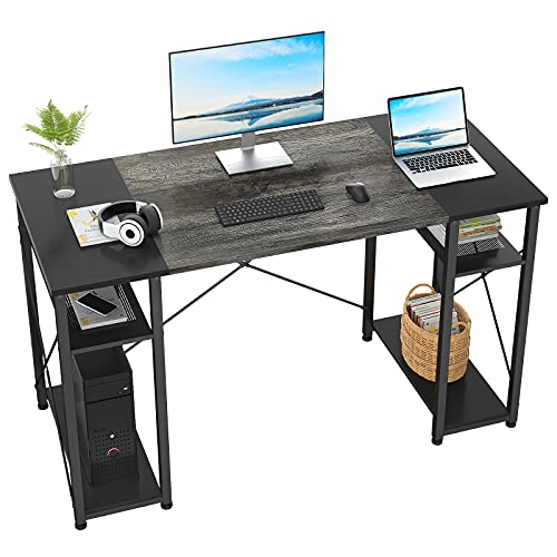 Ecoprsio Computer Desk, 47 Inch Home Office Desk with 4 Storage Shelves, Modern Study Writing Table Sturdy Simple Laptop PC Desk with Splice Board, Oak and Black
