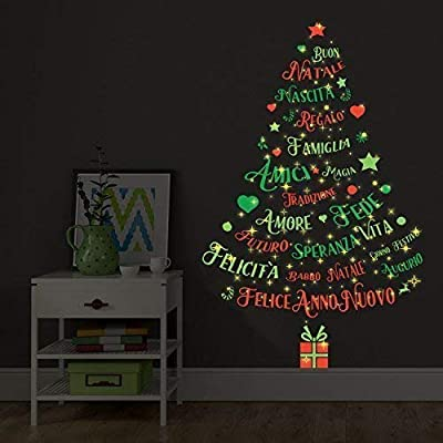 """Christmas Decorations Wall Stickers """" Magic Glow in Dark Italian Quotes Christmas Tree """" Wall Murals Decals Living Room Children Nursery School Restaurant Cafe Hotel Home Décor"""