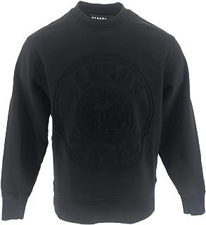 Versace - Sudadera con Cuello Redondo y Logotipo Cosido, Ajuste Regular, Color Negro