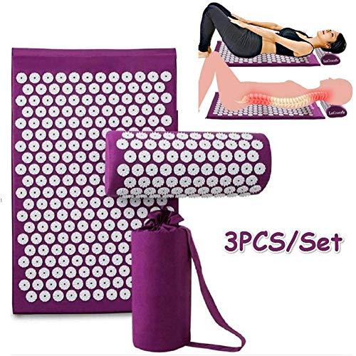 Acupressuurmat en yogamat, geschikt voor de verlichting van rugpijn en nek en voor spierontspanning. Paars.