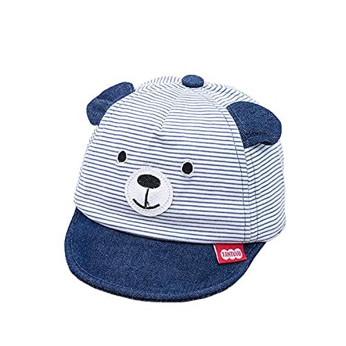 Visyaa Gorra de béisbol para bebé, niño, niña, verano, de algodón, a rayas, snapback A azul oscuro. 48