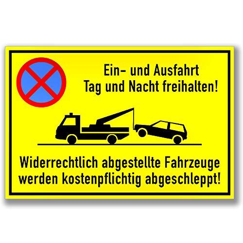 KAVARO Schild Einfahrt und Ausfahrt Tag und Nacht freihalten - Widerrechtlich abgestellte Fahrzeuge Werden kostenpflichtig abgeschleppt [30x20cm]
