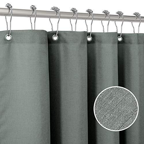 Duschvorhang Leinen mit Metall Duschvorhangringe Stoff Textil Badewannenvorhang Anti Schimmel Bad Vorhang Wasserdicht Badewanne Vorhang Schwerer Shower Curtain Badezimmer - 182 x 182cm (Grau Grün)