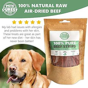 Pets Purest Friandises Naturelles pour Chiens 100% Pur bœuf séché à l'air Libre - Un Seul ingrédient - sans céréales, Gluten et Lactose - friandise Crue Saine (Environ 24 pcs/Paquet de 100g)