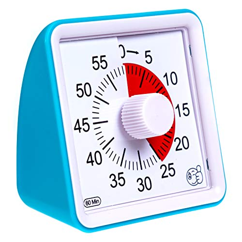 Wynnline 60-Minute Visual Analog Timer - Countdown Clock for Classroom, Kids with autism, Silent, No Loud Ticking – Kitchen Minute Timer with Low & High, 3 & 60 Sec Alarm, Blue