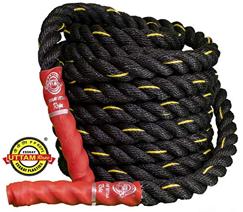 ESSKAY UTTAM Rope Black PRO Exercise Gym Battle Rope 1.25 inch / 35 Feet
