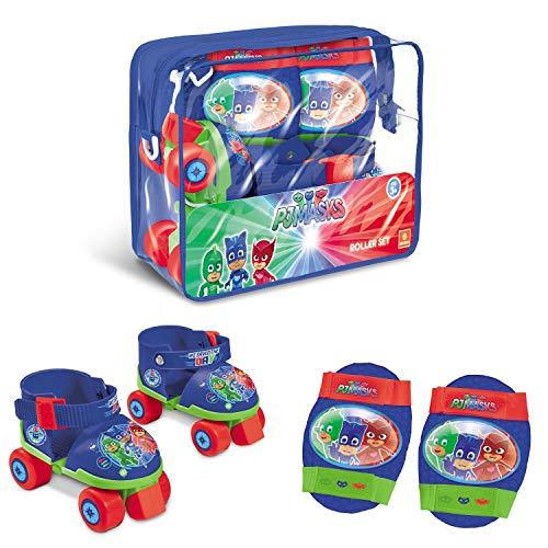 Mondo Toys-Pattini a rotelle Regolabili PJ Masks per Bambini-Taglia dal 22 al 29 - Set Completo di Borsa Trasparente, gomitiere e Ginocchiere, 18475