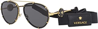 Versace VE 2232 143887 Black Metal Aviator Sunglasses Grey Lens