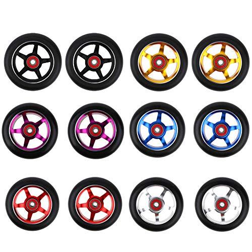 Lai-LYQ Scooter Wheels 100mm Paar, 2 Stück Scooter Ersatzräder Stunt Scooter Wheel Passend Für Die Meisten Freestyle Scooter Mit 100mm Rädern Golden