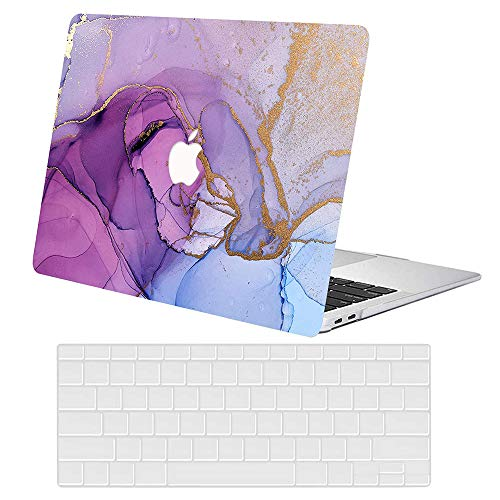 MacBook Air 11 Inch Case Model A1370 A1465, AJYX Plastic Hard Shell Case Bundle with EU Transparent Keyboard Cover for Laptop Mac Air 11,Purple Marble
