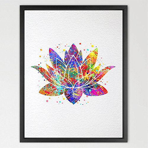 Dignovel Studios Lotus Flower Yoga Symbol Watercolor Print illustrations Art Print Wall Art Poster Giclee Wall Decor Art Home Decor Wall Hanging N320 (8X10 inch, N320-Yoga Symbol)