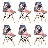 AVOA Silla de comedor, 6 unidades, tela de retazos con patas de madera, sillón, silla de cocina, para cocina, hogar, salón, comedor (color: rojo)