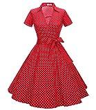 Timormode Robe Années 50's Audrey Hepburn Rockabilly Swing,Plissé Robe à Manches Courtes 10084Small Red White S