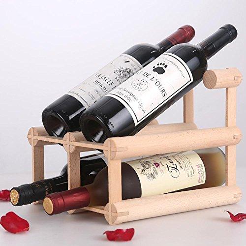 WYFC Présentoir en bois de support de vin Support en bois en bois de vin Support amovible de bouteille de vin créatif