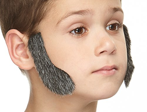 Mustaches Fake Sideburns, Self Adhesive, Novelty, Small False Mutton Chops, Facial Hair, Costume Accessory for Kids, Salt and Pepper Color