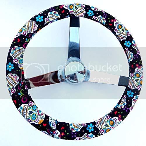 Mana Trading Steering Wheel Cover Black Folkloric Sugar Skull